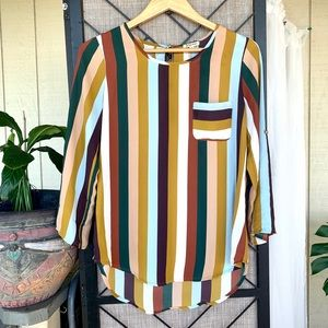 Lily White Striped Dress Top Blouse Small